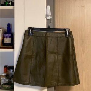 Olive Green F21 Faux Leather Skirt